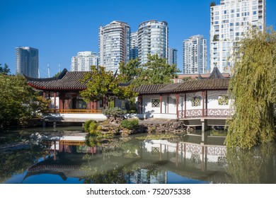 VANCOUVER, CANADA AUGUST 22, 2017: Right in the heart of Vancouver's Chinatown, the Dr. Sun Yat-Sen Classical Chinese Garden and adjacent Sun Yat-Sen Park are the perfect urban oasis.