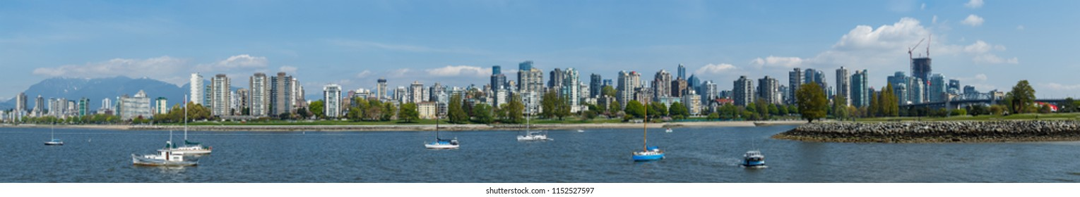 Vancouver, Canada - Circa 2018 : Downtown Vancouver, West End Panorama