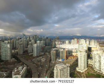 Vancouver, Canada - CIRCA January 2016 : aerial of bc place and yaletown