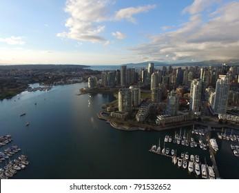 Vancouver, Canada - CIRCA January 2016 : aerial of false creek yacht marine