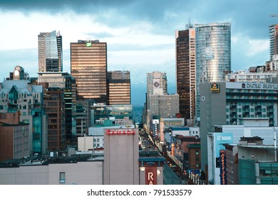Vancouver, Canada - CIRCA January 2016 :aerial of stormy skyline of downtown skyline granville
