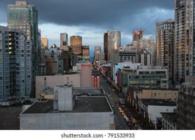 Vancouver, Canada - CIRCA January 2016 : skyline of downtown skyline granville
