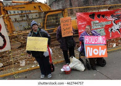 VANCOUVER, CANADA - DECEMBER 2, 2011: Eastside Vancouver residents rally to protest developments of condos in their neighborhood and demand affordable housing in the area in Vancouver, Dec. 02, 2011.