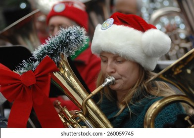 VANCOUVER, CANADA - DECEMBER 21, 2014: Tenor and bass tuba players perform Christmas carols during the 41st annual Tuba Christmas event at Robson Square in Vancouver, Canada, on December 21, 2014.