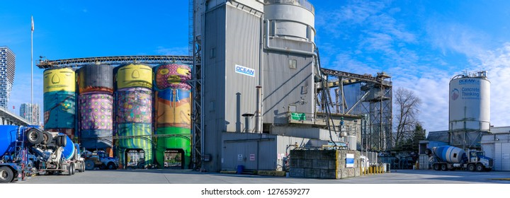 Vancouver, Canada - Feb 1, 2019 : Ocean Concrete being transformed by two famous Brazilian street artists Os Gemeos at Granville Island