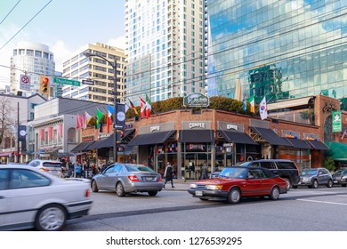Vancouver, Canada - Feb 1, 2019 : Robson Street of Downtown shopping district in Vancouver BC