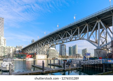 Vancouver, Canada - Feb 1, 2019 : View of Vancouver BC next to Granville Bridge along False Creek