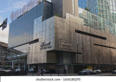 "Vancouver, Canada - February 17, 2020: A luxury hotel ""Fairmont Pacific Rim"" in downtown Vancouver near Canada Place"