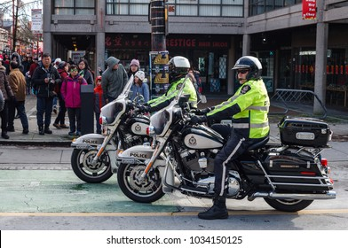VANCOUVER, CANADA - February 18, 2018: Vancouver Police Department Motocycle officers at Chinese New Year parade.