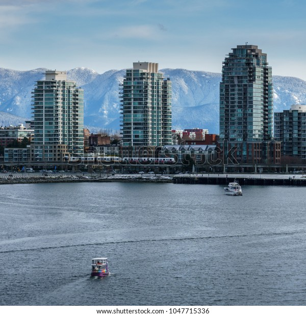 Vancouver Canada - February 18, 2018: Modern architecture and appartment buildings in Vancouver Canada near False Creek.