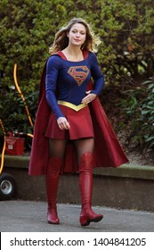 VANCOUVER, CANADA - JAN 5th, 2017: Actress Melissa Benoist suits up as Supergirl to film action scenes on set in downtown Vancouver, BC, Canada
