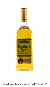 Vancouver, Canada - January 1, 2015: Bottle of Jose Cuervo isolated on white. Jose Cuervo was founded in 1795 by Don Jose Antonio de Cuervo. It is the best selling tequila in the world.