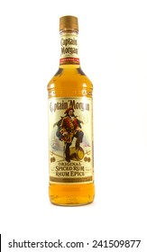 Vancouver, Canada - January 1, 2015: Captain Morgan is a brand of rum produced by alcohol conglomerate Diageo. Captain Morgan is by volume the second largest brand of spirits in the United States