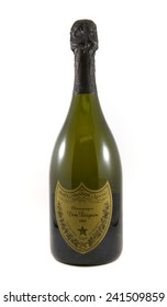 Vancouver, Canada - January 2, 2015: Bottle of Dom Perignon isolated on white. A brand of vintage Champagne produced by Champagne house Mo�«t & Chandon and serves as that house's prestige champagne.