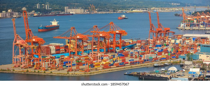 Vancouver, Canada July 1, 2019: Vancouver port handles approximately 400,000 vehicles annually, making the Port of Vancouver one of the top three ports on the west coast of North America.