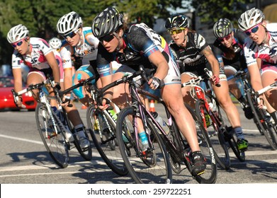 VANCOUVER, CANADA - JULY 11, 2014: Athletes compete during the BC Superweek bicycle race in Vancouver, Canada, on July 11, 2013.