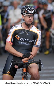 VANCOUVER, CANADA - JULY 11, 2014: Athlete competes during the BC Superweek bicycle race in Vancouver, Canada, on July 11, 2013.