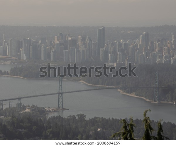 Vancouver, Canada - July 13 2021: Vancouver, hazy from wildfire smoke