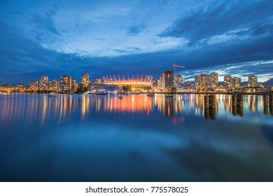 vancouver, canada - july 18, 2016: vancouver downtown at blue hour