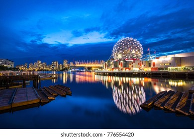 Vancouver, Canada - july 18, 2016: vancouver downtown on the blue hour