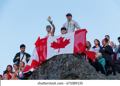 Vancouver, Canada - July 1st 2017: Celebrating Canada Day Sundrise At The Top Of Mount Seymour