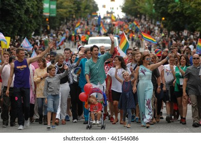 VANCOUVER, CANADA - JULY31, 2016: Prime Minister of Canada Justin Trudeau and his family take part in the 38th annual Pride Parade in Vancouver, Canada, July, 31, 2016.