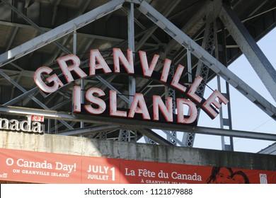 VANCOUVER, CANADA - June 17 2018: Granville Market sign. The market is a famous tourist attraction..