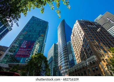 Vancouver, Canada - June 20, 2017: High rises in Vancouver's downtown on a sunny day