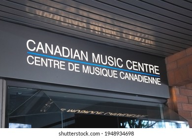 Vancouver, Canada - June 29,2020: View of sign Canadian Music Centre in Downtown Vancouver