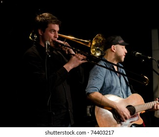 VANCOUVER, CANADA - MARCH 27: Trio Starbirds. Nick La Riviere and Tom Landa on the stage of The Jazz Cellar on March 27, 2011 in Vancouver, Canada.