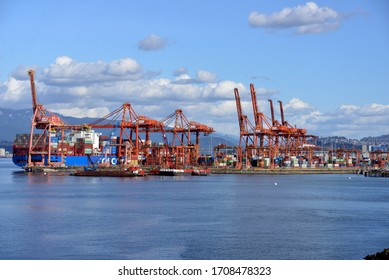 Vancouver, Canada - March 4, 2020: The busy cargo terminals in the Port of Vancouver, in Vancouver Harbour. It is the largest port in Canada.