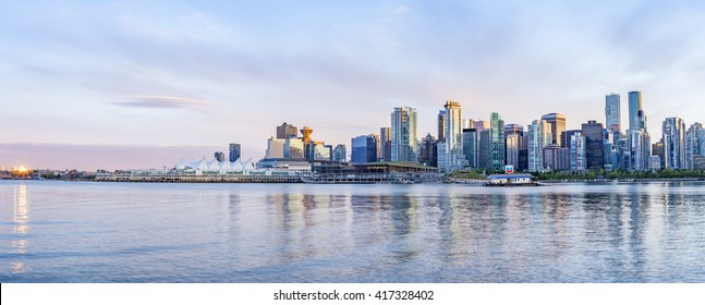 VANCOUVER, CANADA - MAY 04, 2016: Vancouver skyline at sunset