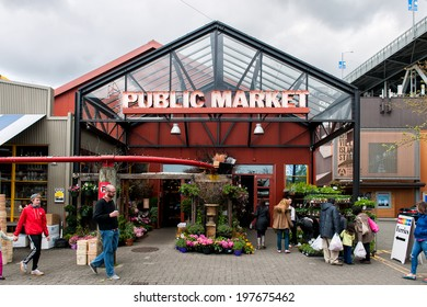 VANCOUVER, CANADA - MAY 10: Granville Island Public Market on May 10, 2014 in Vancouver, Canada. It's home to over 100 vendors offering fresh seafood, meats, sweets and European specialty foods.