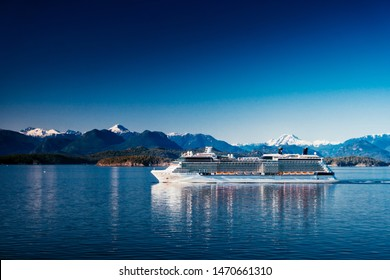 Vancouver, Canada - May 17, 2019: Celebrity Solstice is sailing from Vancouver British Columbia. This is an Alaskan cruise. Big vessel of one of the best premium cruise companies.