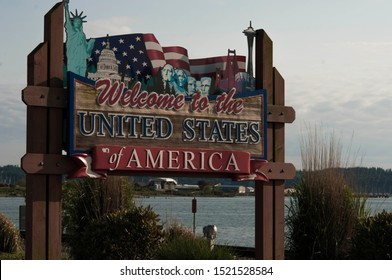 Vancouver, Canada. May 2015. Welcome to the USA sign found on the Canadian Border.