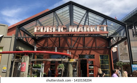 Vancouver, Canada - May 26 2019 : The entrance for Granville Island Public Market in Vancouver. It's the major tourist attraction for shopping district Vancouver BC.