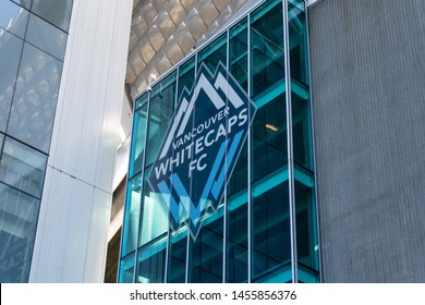 VANCOUVER, CANADA - May 7, 2019: Vancouver Whitecaps FC logo outside the soccer teams home stadium, BC Place in downtown Vancouver, BC.