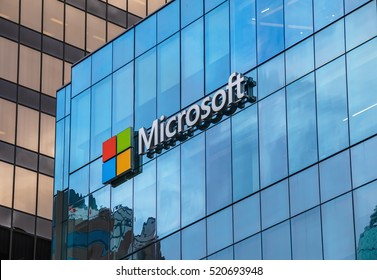 VANCOUVER, CANADA - November 21, 2016: Microsoft sign on the new office building in Vancouver, Canada, November 21, 2016.