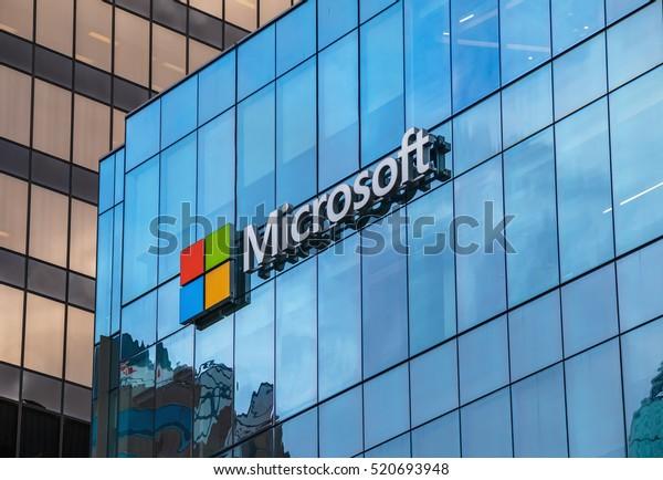 VANCOUVER, CANADA - November 21, 2016: Microsoft sign on the new office building in Vancouver, Canada, November 21, 2016.