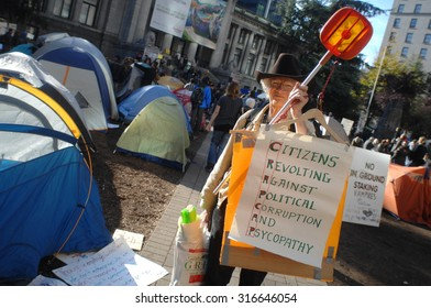 VANCOUVER, CANADA - OCTOBER 16, 2011: Hundreds of people set up tents and protested against corporate greed, as part of global Occupy movement, in Vancouver, Canada, Oct.16, 2011.