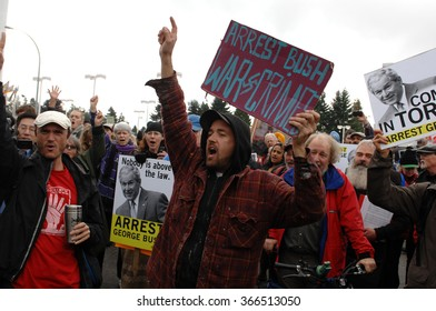 VANCOUVER, CANADA - OCTOBER 20, 2011: Protesters gathered to call for arrest of former U.S president George W. Bush for alleged human-rights abuses and war crimes, Oct.20, 2011 in Surrey, Canada.