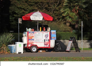 Vancouver, Canada - October 5, 2019: Street food truck selling hot dogs on Sunset Beach in Vancouver