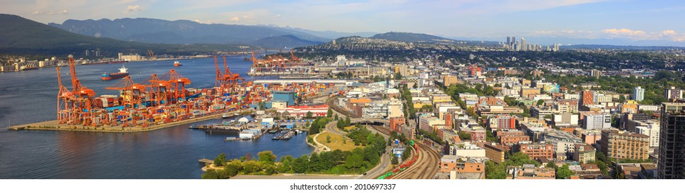 Vancouver, Canada on July 1, 2019: The Port of Vancouver is the largest port in Canada and the third largest in North America in terms of total tonnage moved in and out of the port.