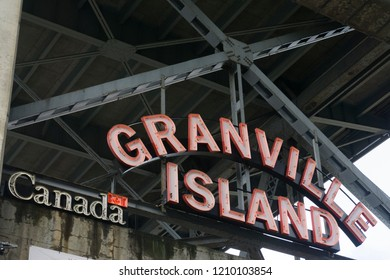 Vancouver, CANADA - SEPTEMBER 11th 2018: Granville Island market sign. Granville island is a artisan market and shopping district in Vancouver