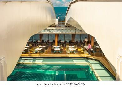 Vancouver, Canada - September 12, 2018: Lido Deck pool, Volendam cruise ship.
