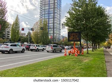 Vancouver, Canada - September 15, 2019: Incident Lions Gate Bridge sign, major traffic jam on West Georgia Street because of incident