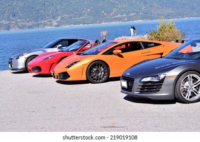 VANCOUVER, CANADA - SEPTEMBER 20: Exotic super cars Audi R8 Lamborghini Gallardo Ferrari and Nissan GTR from the club scenic rush in Vancouver on September 20, 2014.