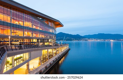 VANCOUVER, CANADA - September 21, 2011 : The new, modern Vancouver Convention Center at dawn in Coal Harbor. Vancouver, British Columbia, Canada.