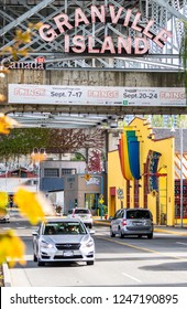 Vancouver, Canada - September 23 2017: The famous neon sign at the entrance of Granville Island in Vancouver, Canada