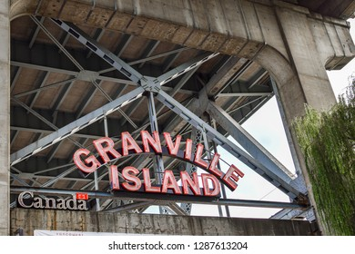 Vancouver, Canada - September 24, 2017: Entrance signage at Granville Island in Vancouver, British Columbia